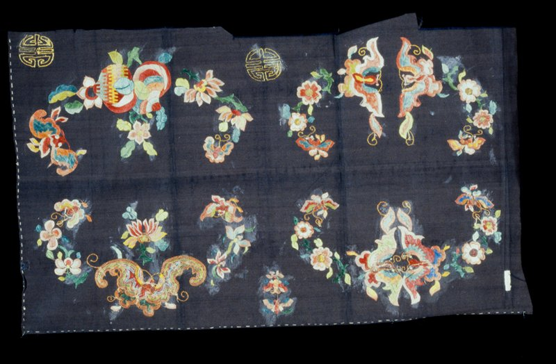 Panel of black satin with unfinished pattern of four units, each composed of butterflies and floral sprays embroidered in colored silks. Satin.
