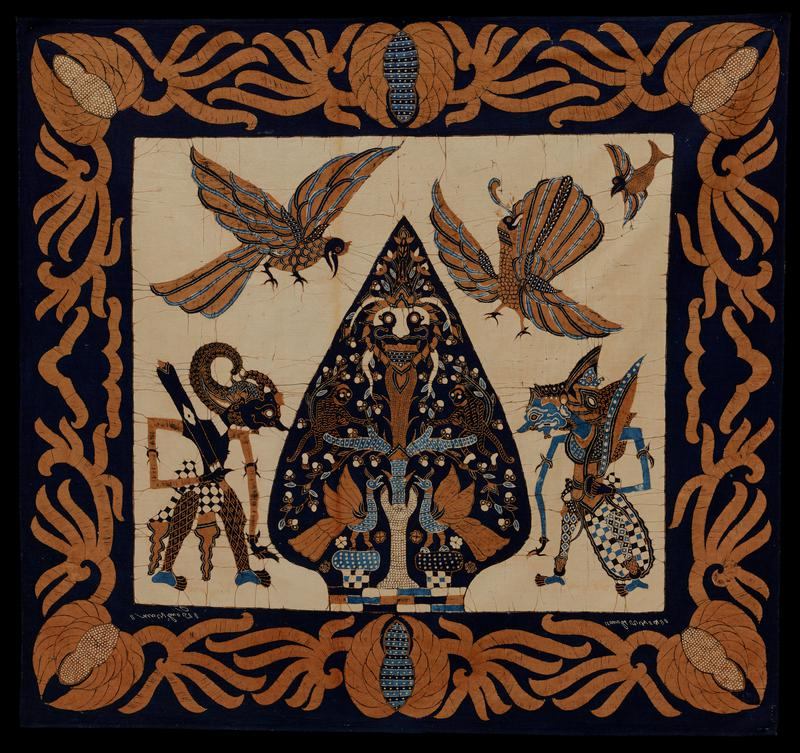 Square, batik, cotton. Birds and grotesque figures on light tan ground. Wide border of brown fruit and leaves on blue ground. At the request of Mr. Plimpton this printed fabric was washed in Ivory Snow on February 2, 1950 by Mr. Soulen and Jim Cooper.