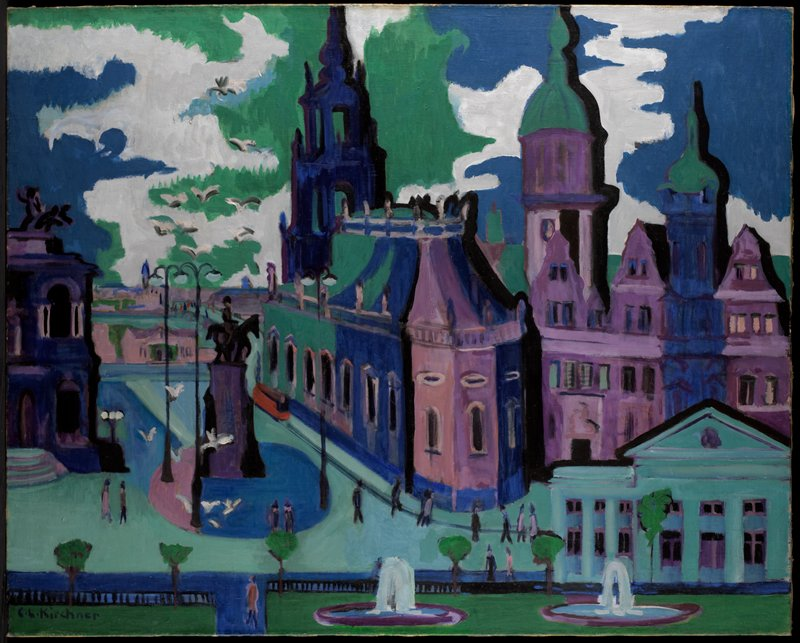 Landscape. German Expressionism. View of Dresden.