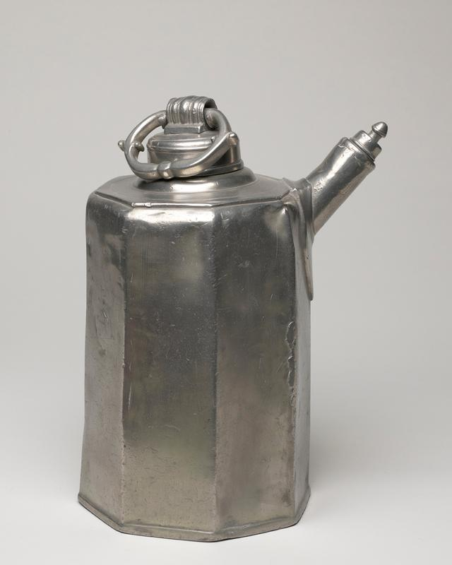 jug with spout, octagonal shape with spout; screw top with movable bow-shaped handle, screw top on spout; decoration of wriggled work around spout; many vessels of this type made in Salzburg