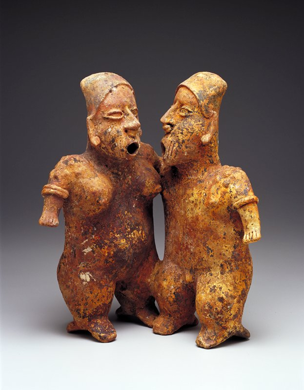 pair of figures, earthenware, fired clay