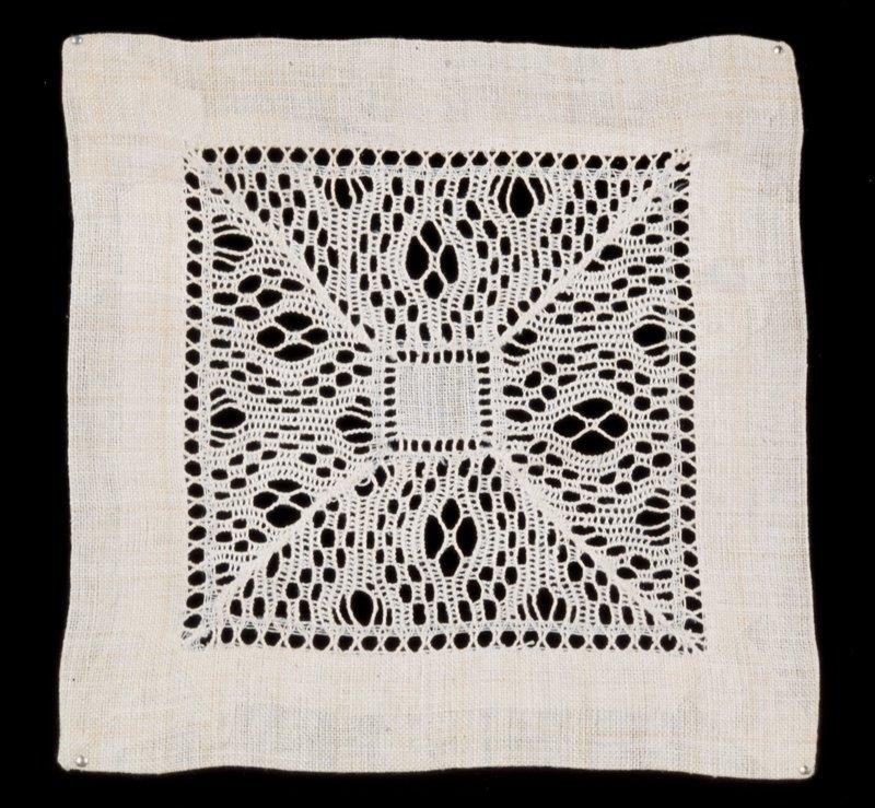 Square Doily, linen, drawn work.