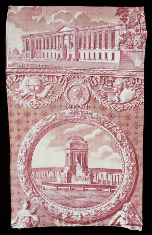 Toile, fragment, copperplate print in rose and yellow, of Monuments of Paris drawn by Hippolyte Lebas.
