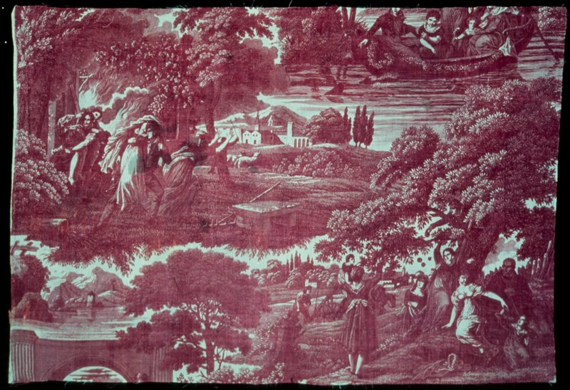 Toile, strip, printed in plum color with scenes of the hunt.