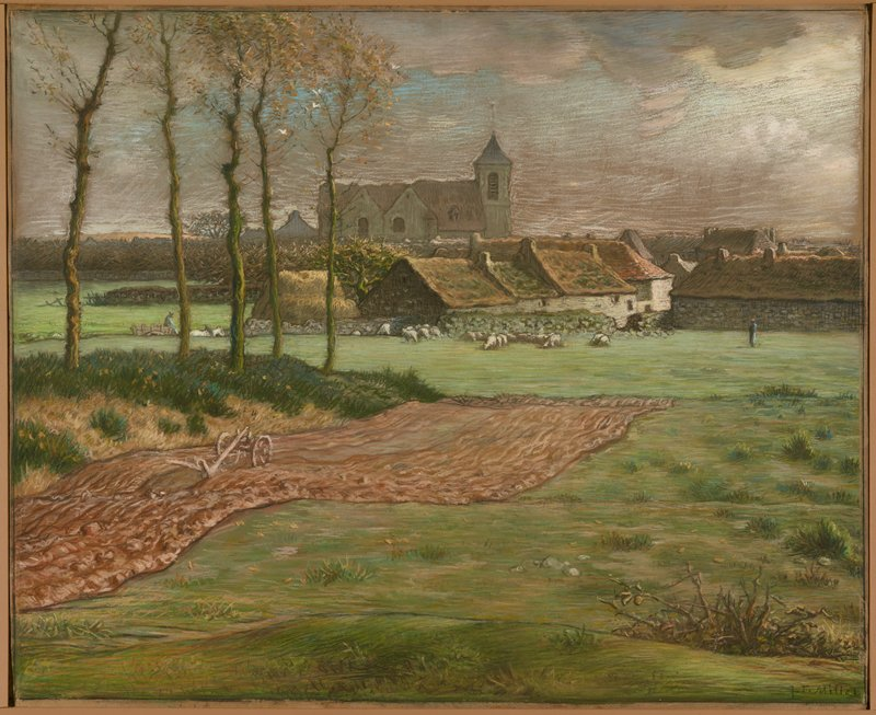landscape with farm field in foreground, church in background, and low buildings and sheep in middle ground