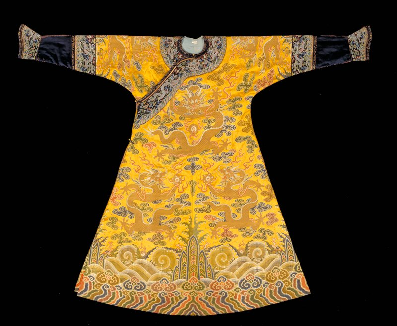 Emperor's gold satin brocade audience robe with broad design representing the Universe; nine five-clawed dragons.