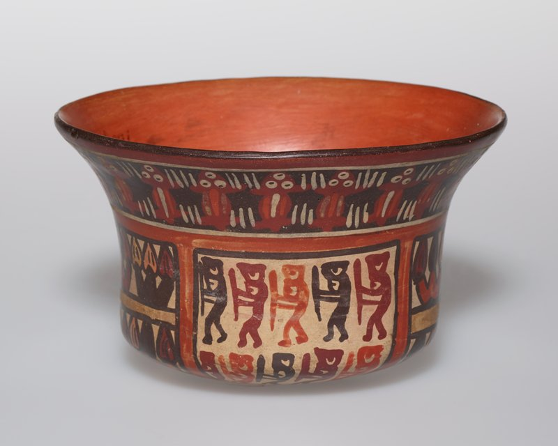 """Bowl decorated with painted panels on body and a narrow border around rim. In the body area double rows of human figures, holding weapons and marching in file, alternating with double rows of stylized floral forms. In the border are short lines in groups of three flanking and surrounding groups of dots in threes which represent a dissolved conception of the human head. Border in white, yellow and red on brownish ground; body panels in colors of cream ground. Panels set off from border and from each other by narrow bands edged with black. Rounded base. H. 2 3/4 in.; diameter across mouth 4 1/4"""""""