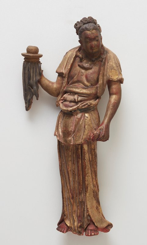 Figure, Boddhisattva, right arm raised, holding dish with hanging drapery, with stand; wood.