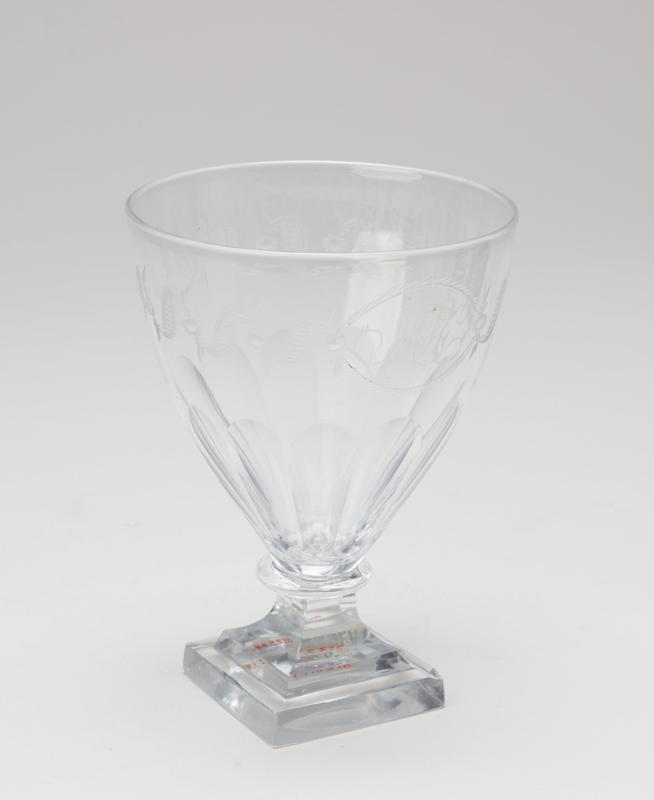 Etched goblet with square base, glass