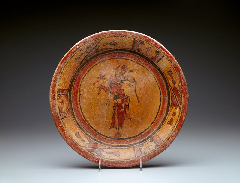 plate, standing man, ceramic, Mexican-Guatemalan