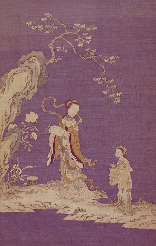 Panel of Two Standing Ladies, embroidery on silk