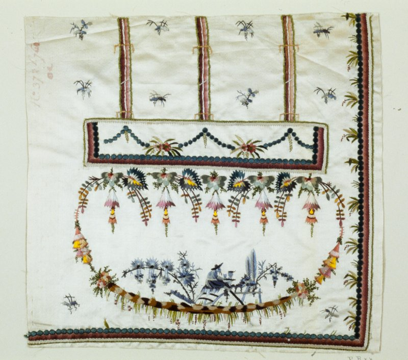 Sample of material for men's vests, proper right front, lower edge with pocket slit. White satin, embroidered with colored silks in floral and chinoiserie design.