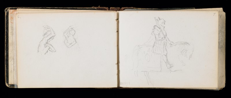sketchbook containing about fifty pencil drawings of animals, landscapes and classical figures plus many pencil notations