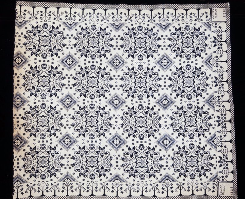jaquard with floral design; indigo wool and white cotton