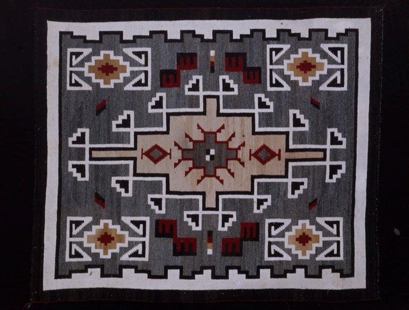 Rug, Klagetoh type: 30 weft, 10 warp per inch.