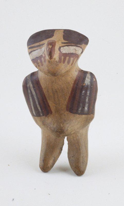 figurine, red, cream and brown design earthenware, Peruvian (Nazca), 1-700 AD cat. card dim. H. 4-1/4'