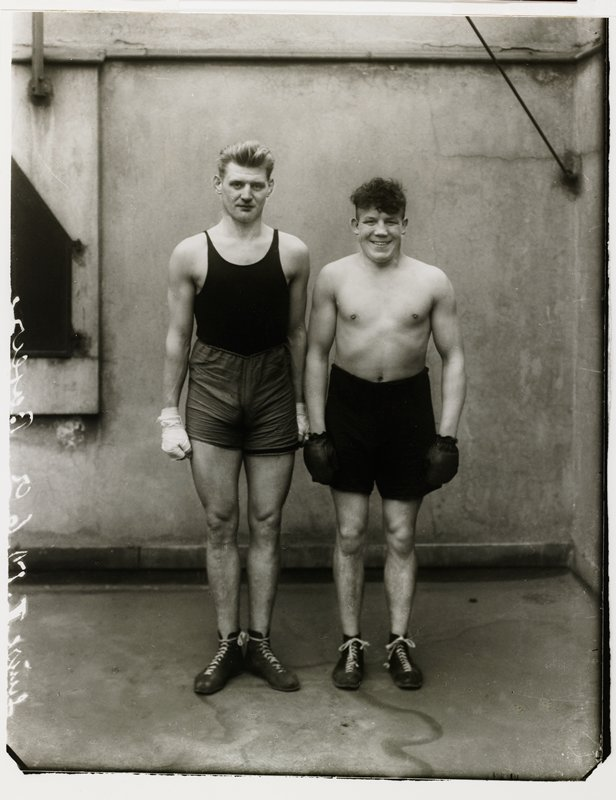 two men in boxing shorts - Hein Heese and Paul Roderstein; August Sander silver-gelatin prints made by Gunther Sander and embossed with the blind stamp of August Sander