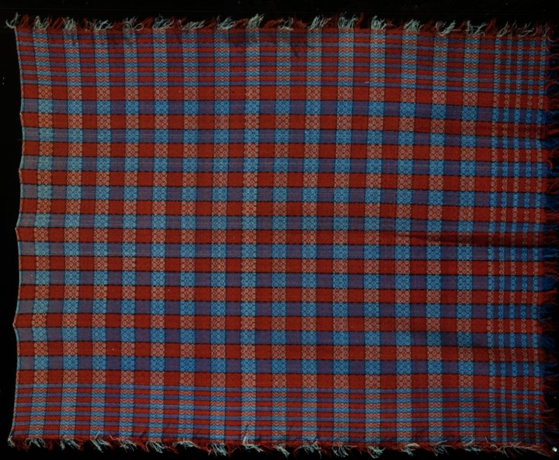 blanket, red, blue,black plaid, point-twill construction, wool; Pennsylvania German