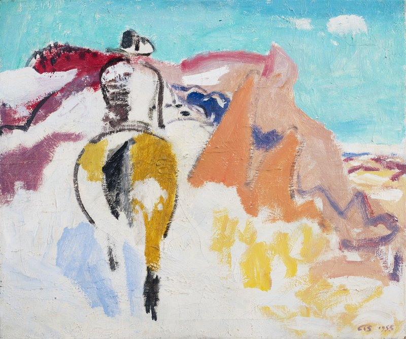 Figural abstraction with horse and rider.