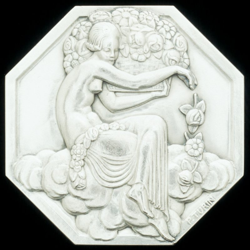 medallion, last number (6) unreadable on object; from the Exposition Internationale des Arts Decoratifs et Industriels Modernes; octagon with female figure seated on clouds dropping flowers from a basket