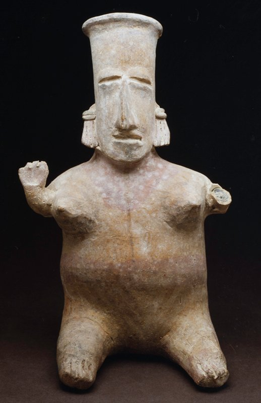 seated female figure, one of a pair, San Juanita Escobedo style, red and black slip on buff earthenware, FEMALE FIGURE, legs extended and hands raised