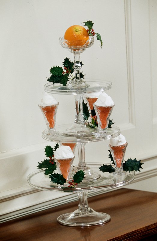 middle stand of syllabub set consisting of three syllabub stands, six glasses and an orange glass