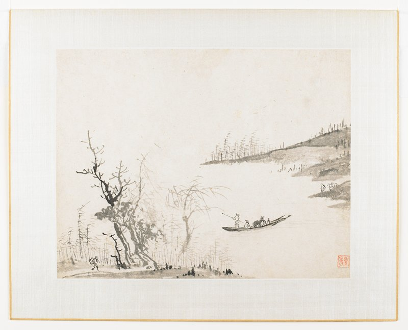 Four figures and horse (donkey ?)in a boat at center foreground, lower left foreground trees and walking figure, two small figures right center, hills in right background
