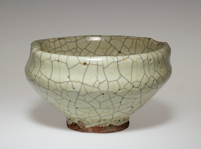 tea bowl, earthenware, grey glaze; and separate wood stand