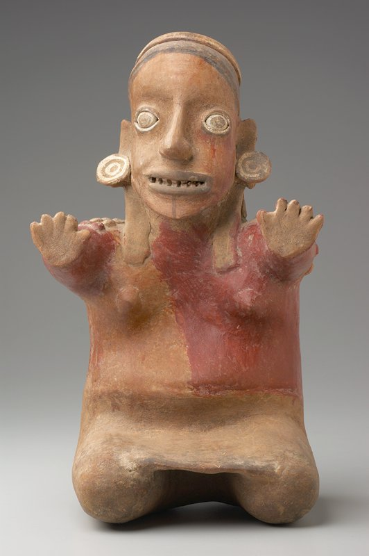 seated woman figure, clay, red and ochre pigments