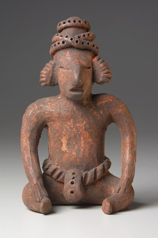 seated male figure (sheep face), ceramic, West Mexican (Nayarit), 100-500AD cat. card dims H 6-1/2 x W 4'
