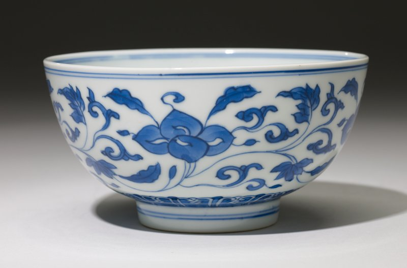 pair of bowls, porcelain, Ching Dynasty, K'ang Hsi Period, underglaze blue and white ware.