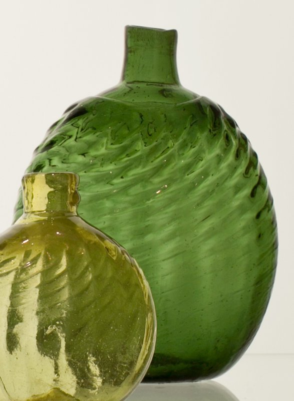 Pitkin flask, emerald green, 16 ribs, broken swirl, toolmarks incised across top of mouth; bottle and dishes from Ohio Manufacturers, 159 items in all, from the Walter Douglas Collection in Centerville, Ohio