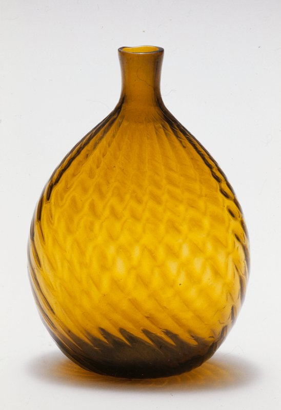 Chestnut flask, 24 ribs broken swirl, pint, brilliant golden amber; attributed to Zanesville; bottle and dishes from Ohio Manufacturers, 159 items in all, from the Walter Douglas Collection in Centerville, Ohio