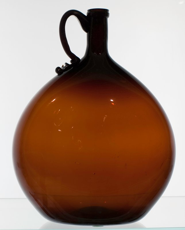 jug, Midwestern glasshouse, amber, ear shaped handle; bottle and dishes from Ohio Manufacturers, 159 items in all, from the Walter Douglas Collection in Centerville, Ohio