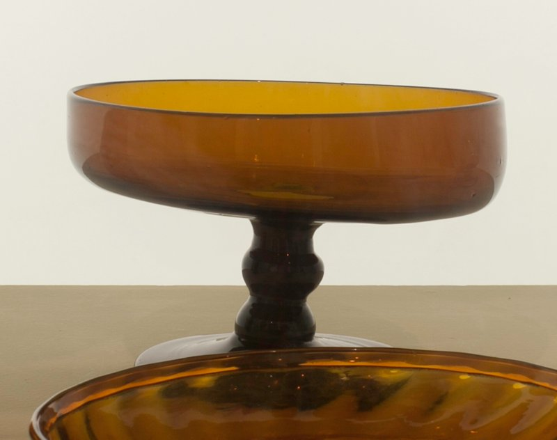 Sweetmeat dish, amber; rare and possibly unique; attributed to Mantua; bottle and dishes from Ohio Manufacturers, 159 items in all, from the Walter Douglas Collection in Centerville, Ohio