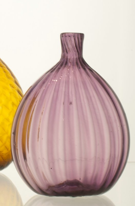 flask, ribbed, lavender; bottles and dishes from Ohio Manufacturers, 159 items in all, from the Walter Douglas Collection in Centerville, Ohio