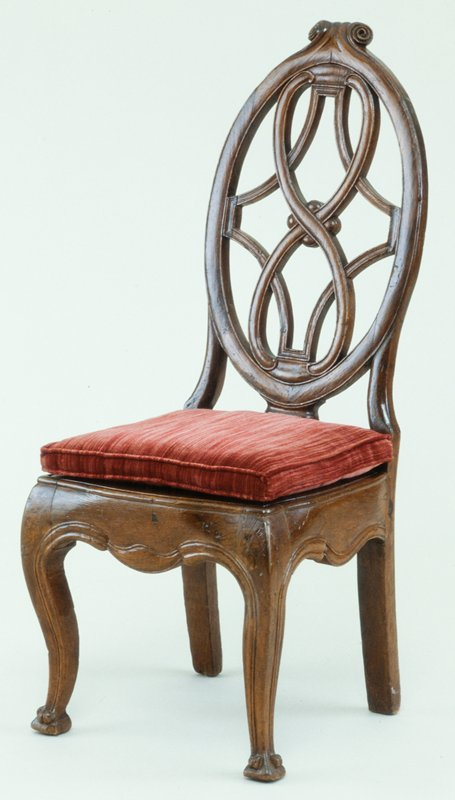 side chair with oval ribbon back, loose wood seat, red velvet seat cushion, Guatemalan Chippendale