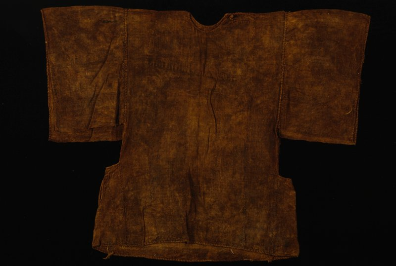 Aly Kassogue (maker), shirt, cotton, dye, African; stored in box; (Simmons); stored w/86.100.6ab,27; dye from sa, a wild grape plant; dye called Sa djoi; shirt worn for hunt and hunting rituals