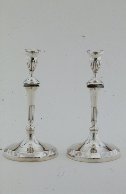 candlestick, one of a pair, round base, fluted shaft