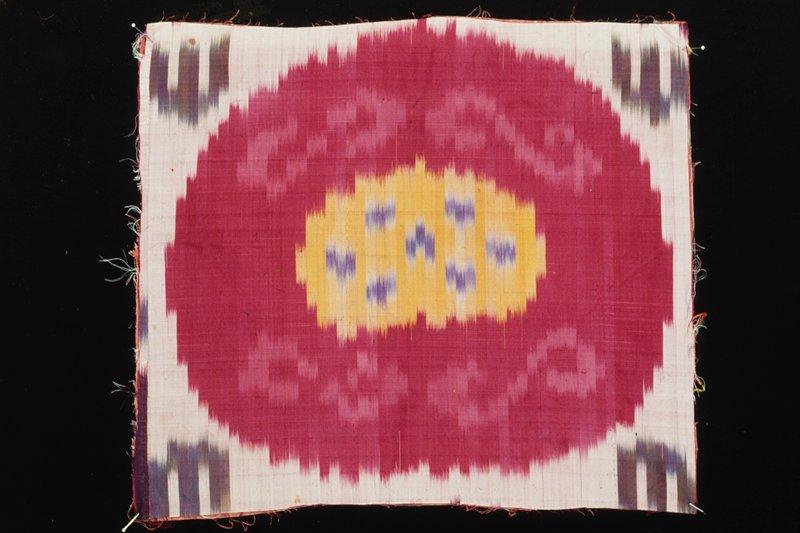 panel, Uzbek, silk, lined with cotton, ikat dyed.
