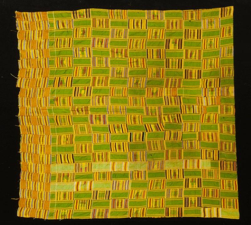 kenta cloth, green and gold; rayon