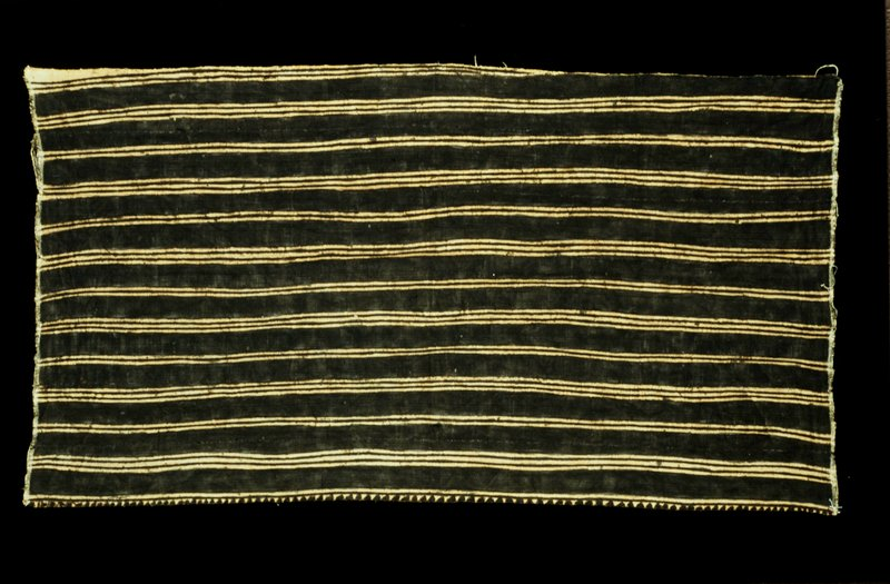 Mudcloth skirt; striped pattern of groups of two or three solid stripes