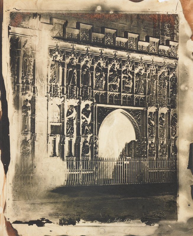 paper negative showing church facade