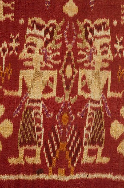 hanging, silk, metallic threads, ikat dyed, metallic braid