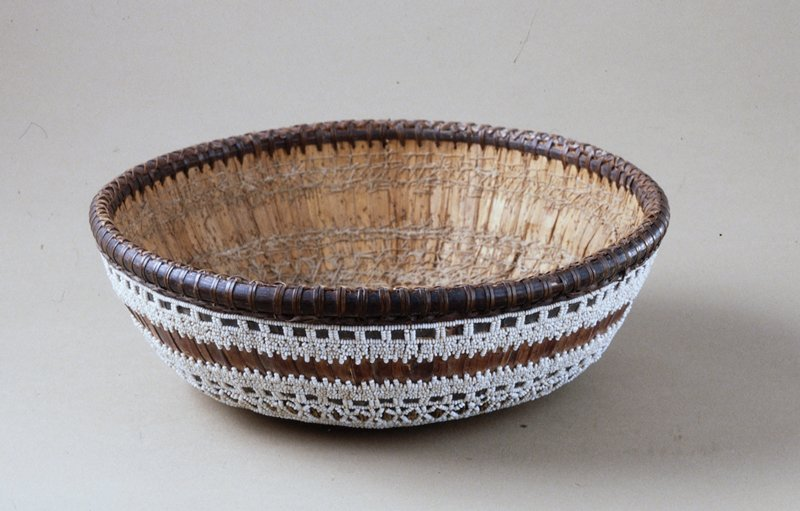 Temple Basket, fiber, stitching, beadwork, metal sequins and beads, mirror