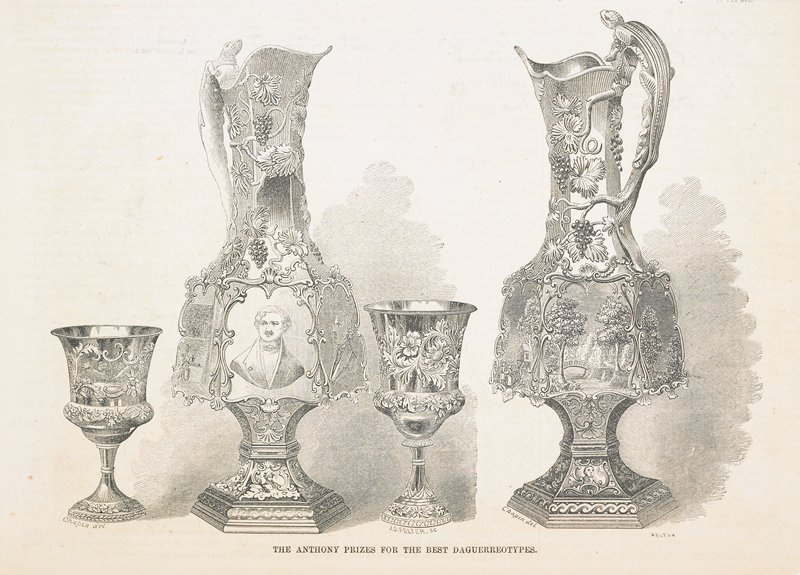 original woodcut illustration of the Anthony Prize for the best daguerreotype. The print shows the massive silver pitcher which Edward Anthony offered for America's first photographic competition. The Anthony Prize was won by Jeremiah Gurney for his whole plate portrait of his daughter. Print published in 'Gleason's Drawing Room Companion', 1853.