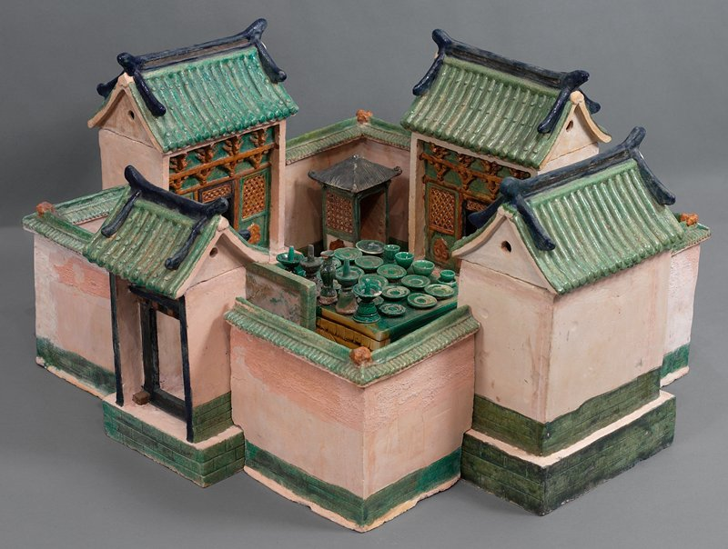wine cup from wedding procession; three color glazed ceramic; one set of 33 pieces, including wedding party, palanquin, wedding chests, ceremonial food and wedding party