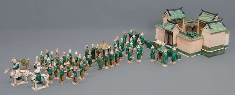 musician bell ringer from wedding procession; three color glazed ceramic; one set of 33 pieces, including wedding party, palanquin, wedding chests, ceremonial food and wedding party