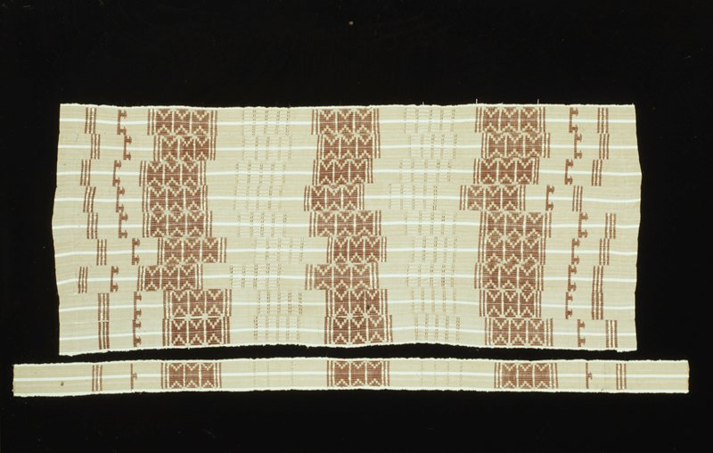 Strip-woven, tan ground with white warp strip, vertical floating weft with pulled areas and supplementary weft patterning