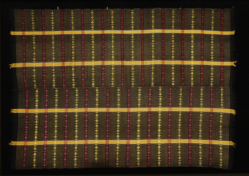 Black ground with 4 orange warp strips supplementary weft patterning, center seam
